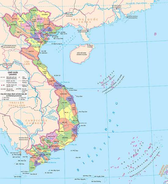 Vietnam is divided into 59 provinces